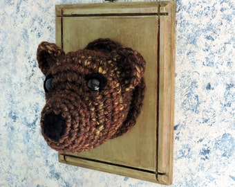 Faux Taxidermy Brown Bear..Woodland Crochet Animal..Nursery decor..cabin decor..plaque..mount.. trophy..rustic..large