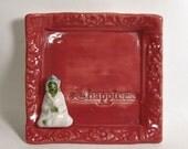 Green Tara Shrine - Quan Yin - Red Hanging Altar - Little Ceramic Hanging Spiritual Decor