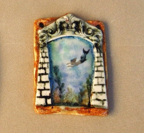 Mermaid Art - Ceramic Miniature - Undersea Temple - Fine Art Ornament