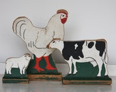 Vintage Wooden Cutout FARM ANIMALS- Wood Toys- Chicken Cow Lamb- Rustic Distressed Wood