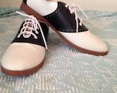 1950s Womens Shoes Classic SADDLE OXFORDS Size 12 Sock Hop Party Attire