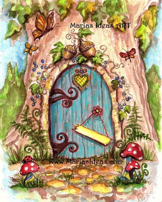 Fairy door art painted fairy door personalized fairy door for Painted fairy doors