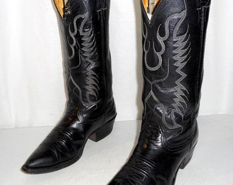 Black Nocona Cowboy Boots mens size 6.5 D / womens 8 Western leather shoes