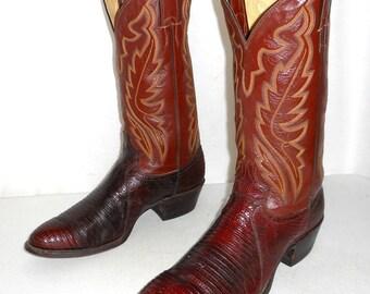 Vintage Lizard Cowboy Boots Justin Brand mens size 9.5 D / womens 11 western wear shoes