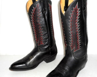 Black Leather Western Rockabilly Cowboy Boots Mens Size 10 - 10.5 D Red White