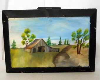 Vintage Painters Paint Tin Folk Art Painted Farm Barn Scene Artist Storage Container