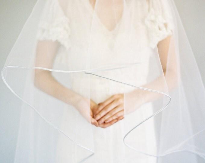 "SALE Silver Soutache Edge Bridal Veil, Ribbon Edge Wedding Veil, Drop Veil, Double Layer Veil, Waltz Length Veil, 65"" with 30"" blusher, 1620"