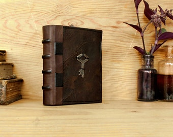 Miniature Book or Journal, Brown Vintage Leather - The Secret Key