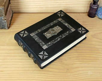 Leather Journal / Blank Book - Black Leather, Artist Quality Paper, Silver Memories