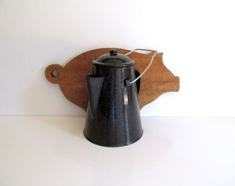 Vintage Enamel Coffee Pot Black Spatterware Large Metal Graniteware Coffeepot