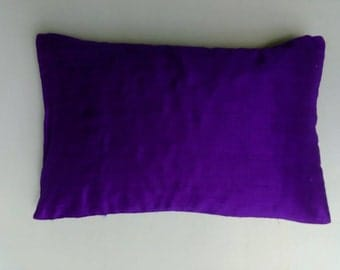 Indigo blue dupioni  silk  boudour  pillow. decorative   acction pillow. 12x18 inch pillow cover.
