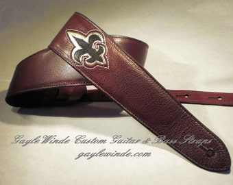 "Custom Guitar Strap / Burgundy Leather w/Black&Gold Fleur-de-Lis / Padded / Leather Lining / Ergonomic/ 3"" Wide"