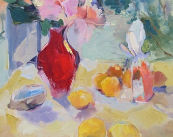 """Red Vase--impressionistic,impressionism, floral, lemons, still life, 20""""x 20"""", free shipping, WET,---Pre-order...Free Shipping!"""