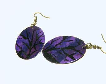 Purple Violet Earrings One of a Kind Brass Earrings Top Selling Jewelry Most Popular Jewelry Handmade Jewelry Gift Ideas Women Earrings
