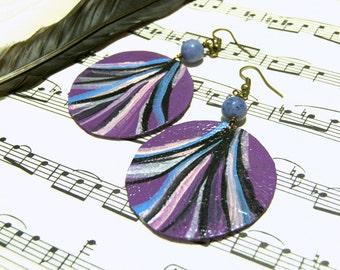 Leather Earrings Sodalite Earrings Painted Jewelry Feminine Jewelry Top Selling Jewelry Jewelry for Women Boho Chic