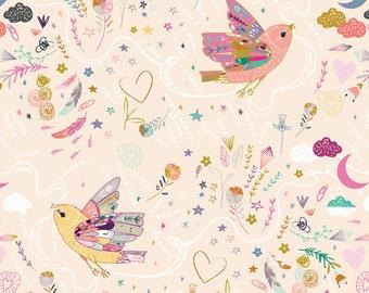Bird Fabric - Love. Hope. Dream. (Peach) By Nouveau Bohemian - Boho Bird Cotton Fabric By The Yard With Spoonflower
