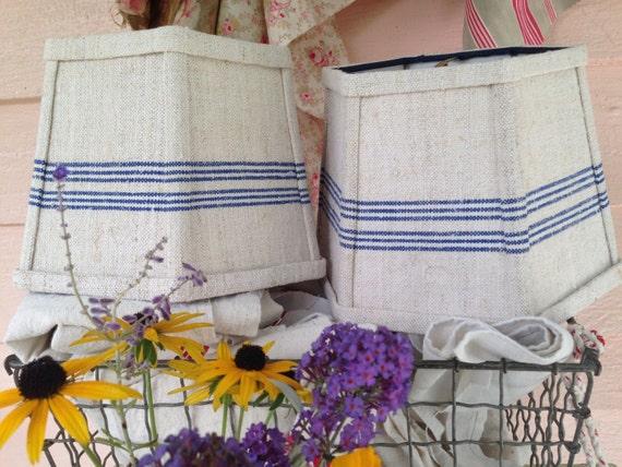 blue lamp shade lampshade stripe grain sack fabric small. Black Bedroom Furniture Sets. Home Design Ideas