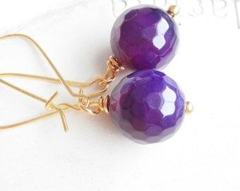 Dark Purple Faceted Stone Bead Earrings