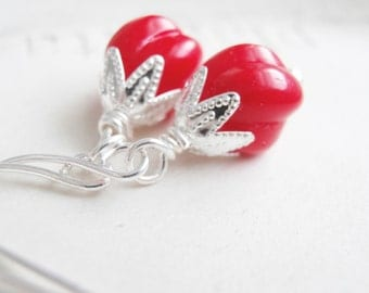 Holiday Red and Silver Vintage Bead Earrings