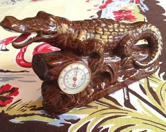 Vintage Florida alligator thermometer Mid Century 1940s 1950s ceramic brown and gold souvenir Floridiana kitsch office