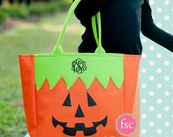 Pumpkin Halloween tote , trick or treat bag , personalized hallowen bag , monogrammed tote , halloween bucket , kids trick or treat bag