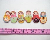 10 pcs of 5cm Russian Doll Wood Button - 2 Hole toggle Sew knit crochet cloth accessory scrapbook embellishment craft diy creative project