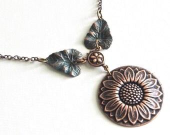Sunflower Necklace - Copper Necklace, Flower Jewelry, Garden Necklace, Leaf Necklace