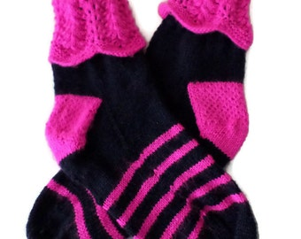 Socks - Hand Knit Women's Bright Pink and Navy Socks - Lace Cuff - Size 7-8