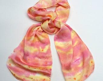 SILK SCARF, silk, silk scarves, hand dyed, hand painted, silk crepe de chine, Hawaiian Sunset, pink, soft yellow, peach, orange, hot pink