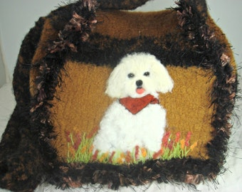 Felted Purse,felted handbag, dog art, Maltese dog, needle felt dog