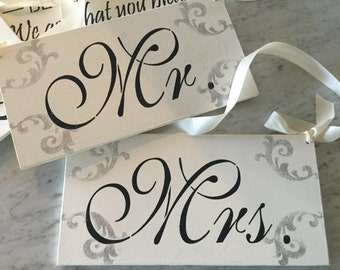 Weddings, wedding decor, Mr and mrs signs, chair signs