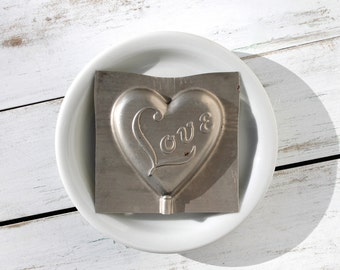 Vintage Heart-Shaped Tin Candy Mold, Love in Lollipop Form, 1960's Faroy Candy Mold