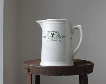 Colonial Line Steamship China Pitcher, Shipping Line Dining China, Warwick China Water Pitcher c1938