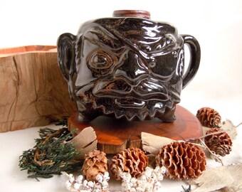 Vintage 1970s Pirate Face Jug Brown Ceramic Planter Vase