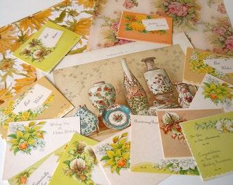 Vintage Yellow Floral Ephemera Paper Pack   Flowers Inspiration Scrapbooking Kit