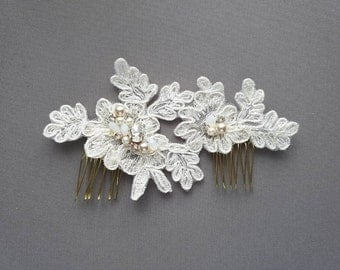 Ready To Ship - OFD1 Handmade bridal lace piece with Swarovski rhinestones, pearls & cyrstals.