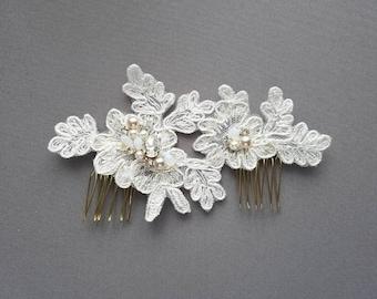 OFD1 Handmade bridal lace piece with Swarovski rhinestones, pearls & cyrstals.
