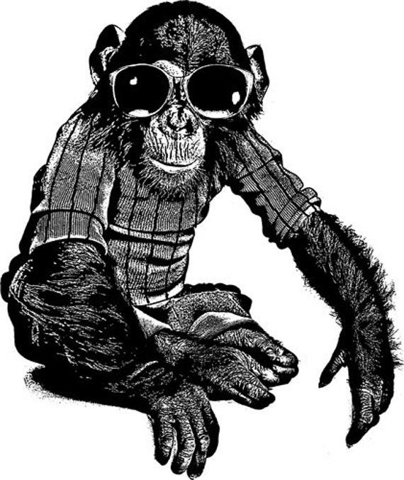 monkeys chimpanzee wearing sun glasses clip art png clipart graphics digital download animal printable wall art