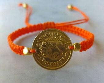 Orange Macramé Bracelet // Coin bracelet // Friendship Bracelet // Orange Macramé