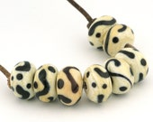 Ivory and Ebony Scribbles Handmade Glass Lampwork Beads (8 Count) by Pink Beach Studios (2537)