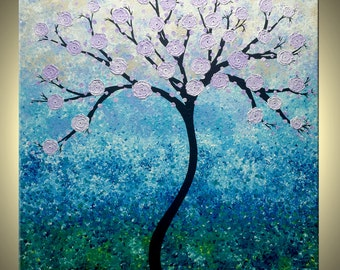 ORIGINAL Abstract Lavender Cherry Blossom TREE Impasto Landscape Textured Modern Palette Knife Painting Lafferty 30x30, 25% Off