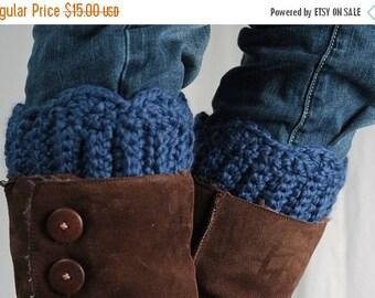 Sale Boot cuff, boot topper, wool,blue,