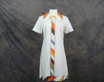 48 Hr SALE vintage 60s Mod Dress - 1960s Shift Dress - Striped Tie Dress Sz M L