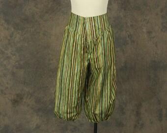 Clearance SALE vintage 80s Harem Pants - 1980s Green Striped Capri Pants - Baggy Genie Pants Sz L