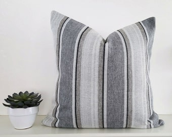 Grey Taupe Cream Pillows, Grey Striped Pillow Covers, Neutral Pillows, Natural Grey Taupe Pillow, Mens Contemporary Home Decor, 20x20