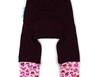 "WOOL LONGIES - Wool Diaper Cover - Cotton Cuffs - ""Madeline Butterfly"" - Medium 9-18m"
