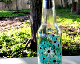 Oil and Vinegar Bottle, Dish Soap Dispenser,  Recycled Clear Beer Bottle, Painted Glass, Teal Flowers