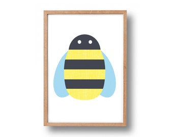 A4 Buzzy Bee hand pulled screen print