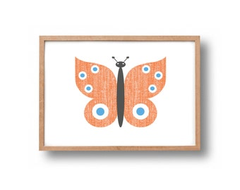 A4 Butterfly hand pulled screen print