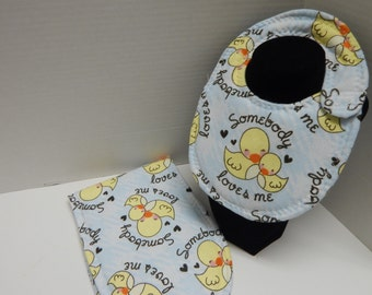 Newborn Baby  Bib and Burp Cloth Set BOY Ducks